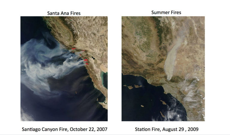 Southern California wildfires exhibit split personalities