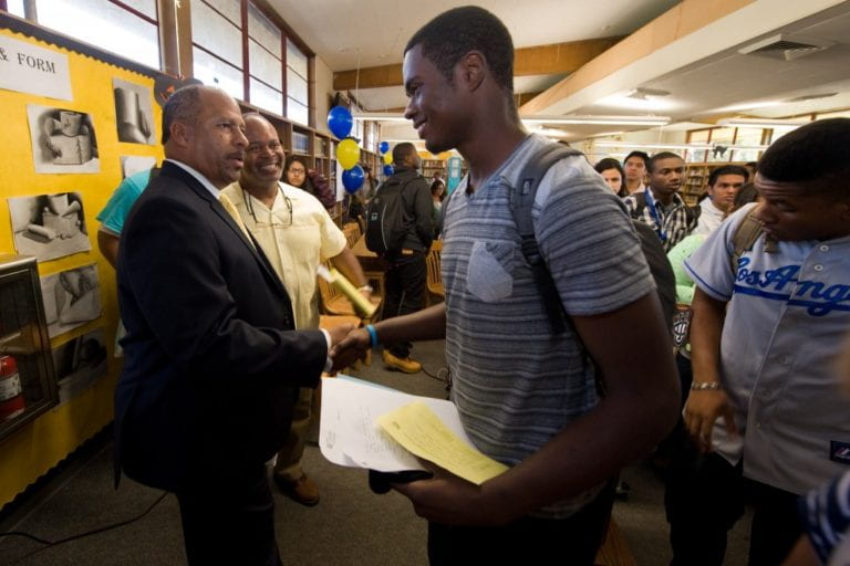 University of California leaders head back to high school