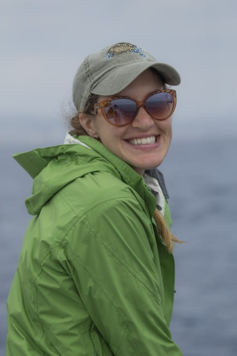 Earthwatch Institute Teen team facilitator Tera Dornfeld poses for a picture while aboard a whale research boat in Dana Point, CA. Photo credit Shane Keena