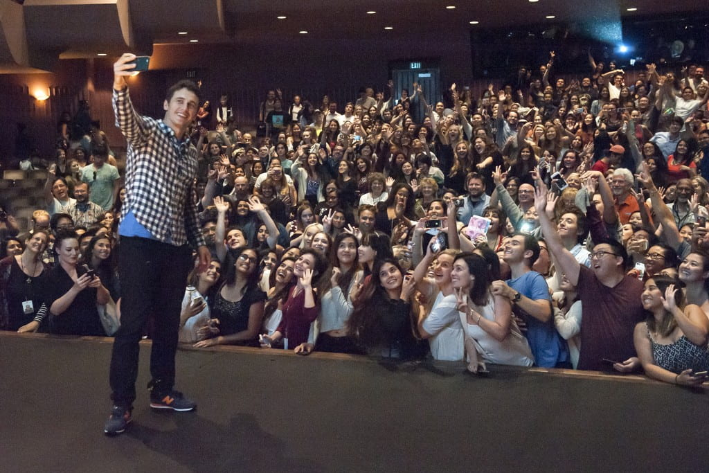Actor James Franco takes a selfie with the audience at UCI's Irvine Barclay Theatre. Jocelyn Lee / UCI