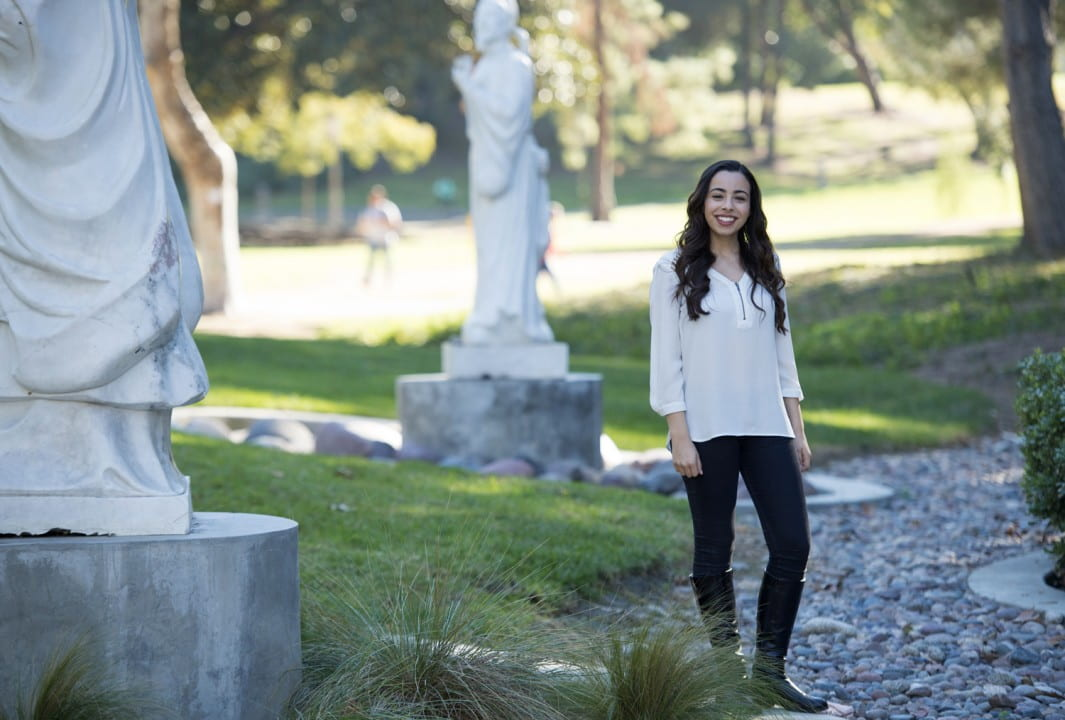 "Mary Sargious, UCI's 2015-16 Dalai Lama Scholar, hopes her project to mentor foster teens will ""empower adults and youths to create change and nurture compassionate leadership.""  Chris Nugent / UCI"