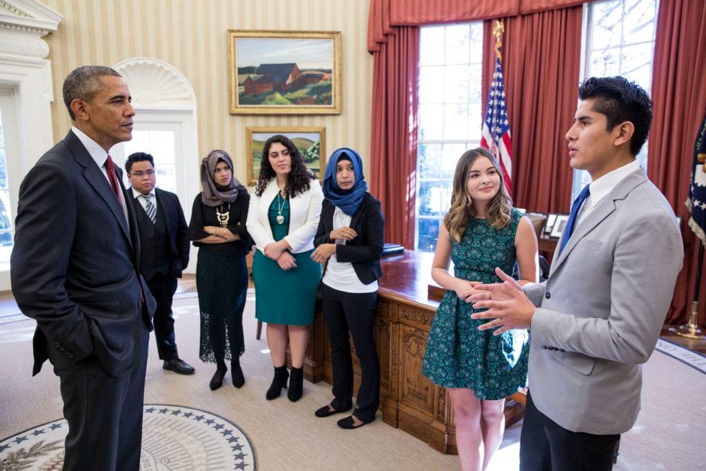 Crystal Sanchez meeting President Barack Obama