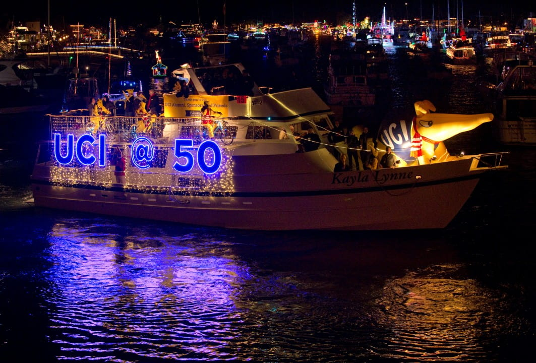 Celebrating the campus's 50th anniversary, the colorfully illuminated boat debuted Wednesday and will appear nightly through Saturday.  Steve Zylius / UCI