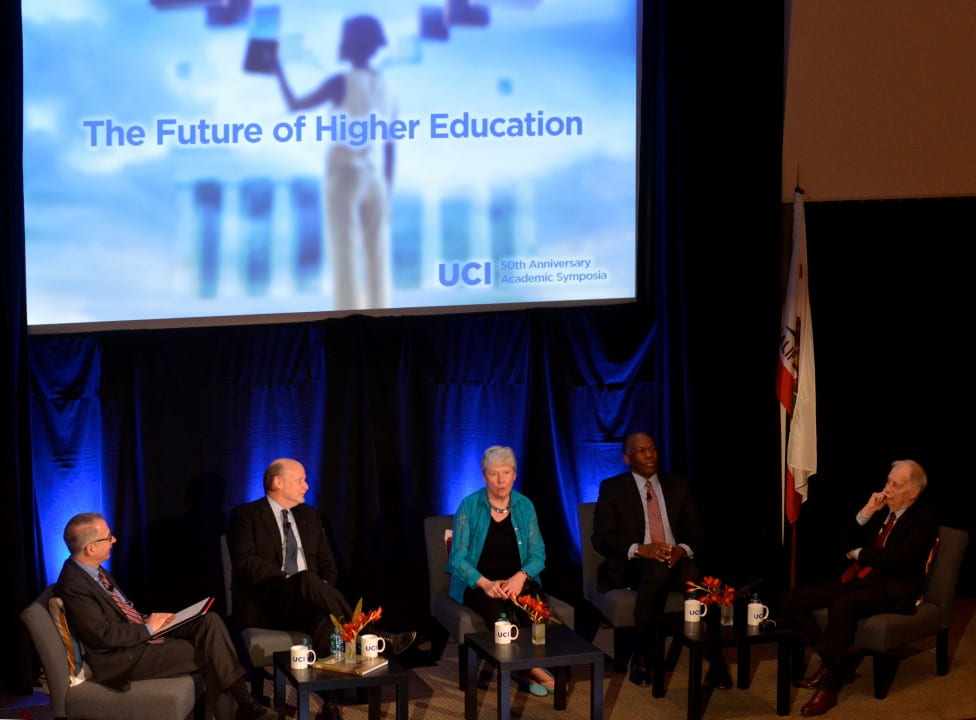 "Moderated by Michael Riley (left), editor-in-chief of ""The Chronicle of Higher Education,"" the panel featured (from right) Ralph Cicerone, president of the National Academy of Sciences and former UCI chancellor; James E.K. Hildreth, president of Meharry Medical College; Maria Klawe, president of Harvey Mudd College; and UCI Chancellor Howard Gillman.  Carlos Puma for UCI"