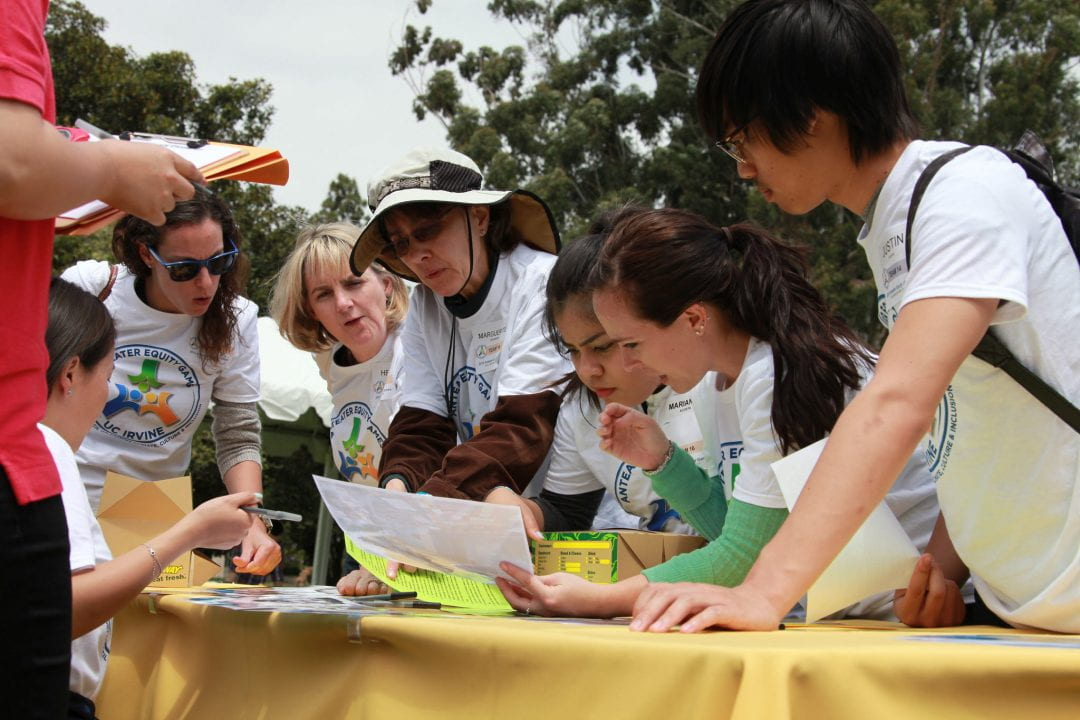 A team collaborates on a challenge at the 2015 Anteater Equity Games. This year's event will be on May 4.  UCI
