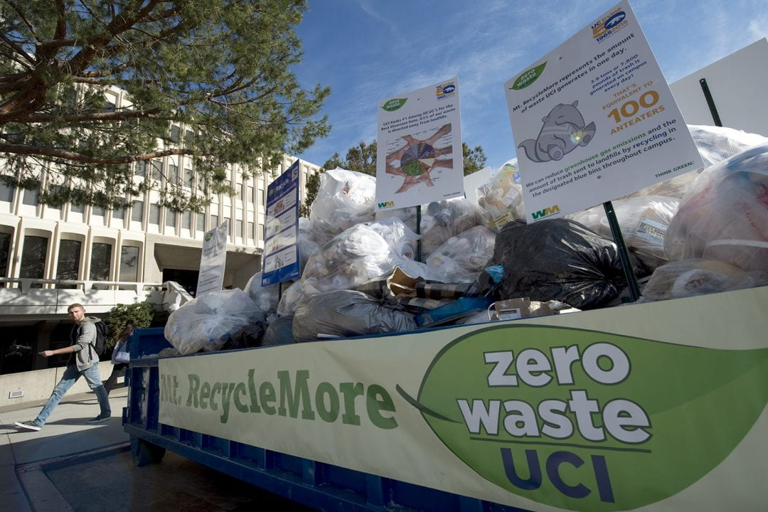 UCI diverts 83 percent of its trash from landfills; Mt. RecycleMore, by the campus flagpoles, serves as a visual reminder of the remaining 17 percent.