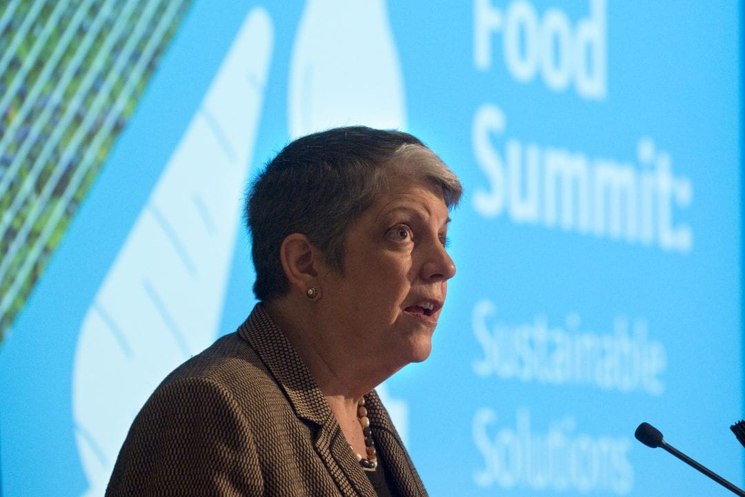 UC President Janet Napolitano delivers the Global Food Summit's keynote address at the Beckman Center.  Steve Zylius / UCI