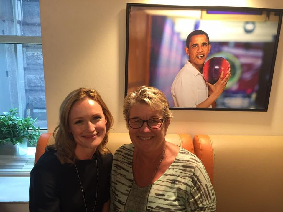 "UCI informatics professor Debra Richardson (right) takes a break from the White House Computer Science for All summit in the Truman Bowling Alley with Kerry Bishé, star of the television show ""Halt and Catch Fire."""