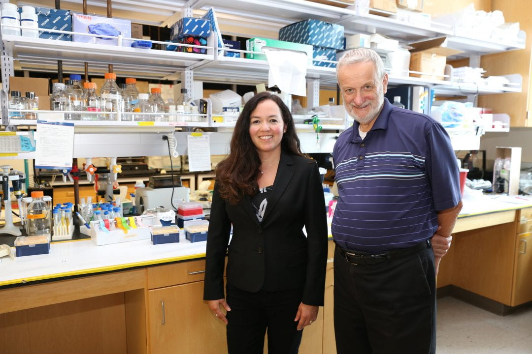 Enrico Gratton, professor of biomedical engineering, here with Michelle Digman, assistant professor of biomedical engineering, founded UCI's Laboratory for Fluorescence Dynamics.  Debbie Morales / UCI Samueli School of Engineering