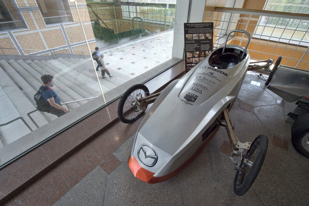 """UCI's entry in the 2007 Extreme Green Race near Lake Tahoe - which won """"most innovative"""" - is on display in the Engineering Gateway lobby.  Steve Zylius / UCI"""