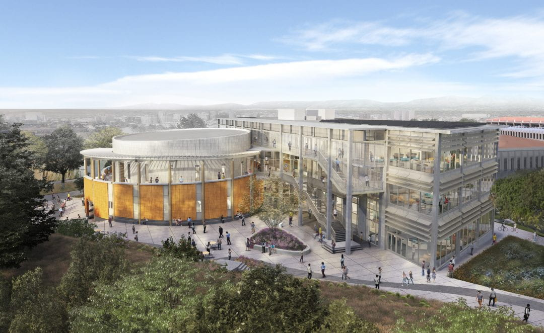 The Anteater Learning Pavilion  will feature an elliptical, two-story structure containing stacked lecture halls, as shown in this architectural rendering, and a three-story edifice with classrooms, offices and mingling space.