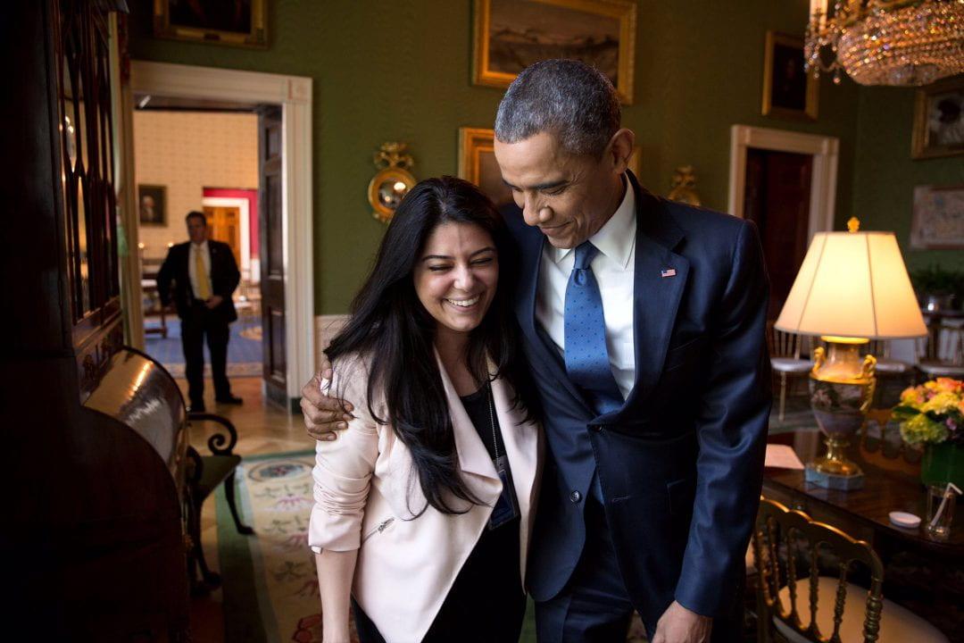President Barack Obama and UCI alumna Ferial Govashiri