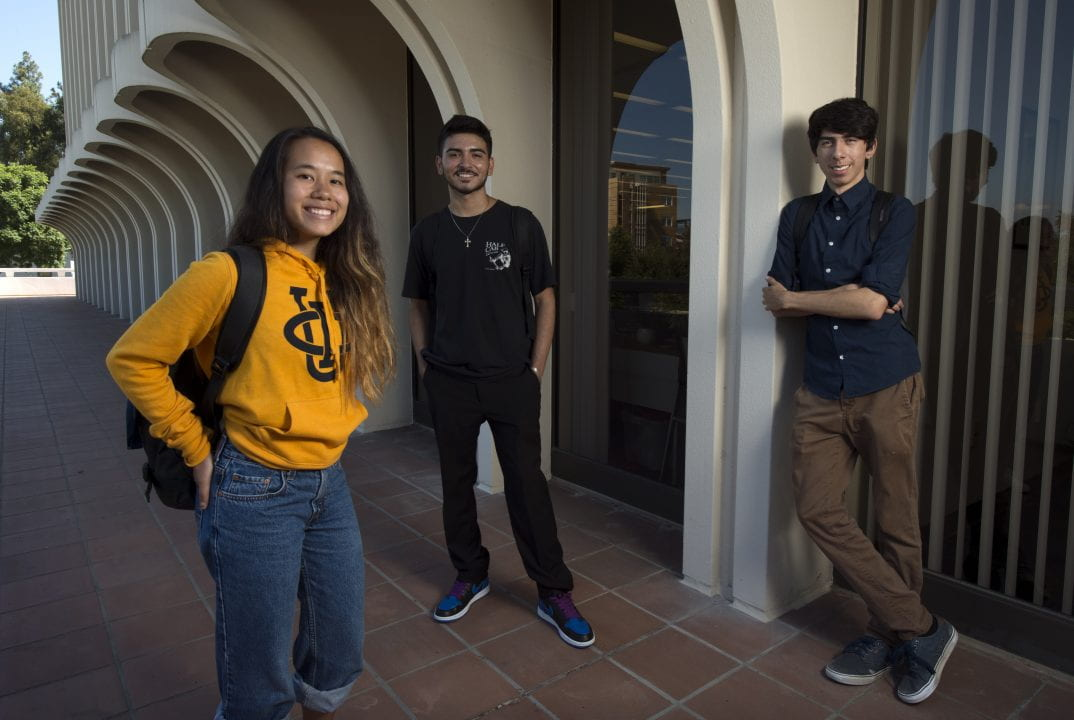 Demetrious Rivera, with fellow first-gen freshmen and STEM majors Linda Thao and Frank Acuna