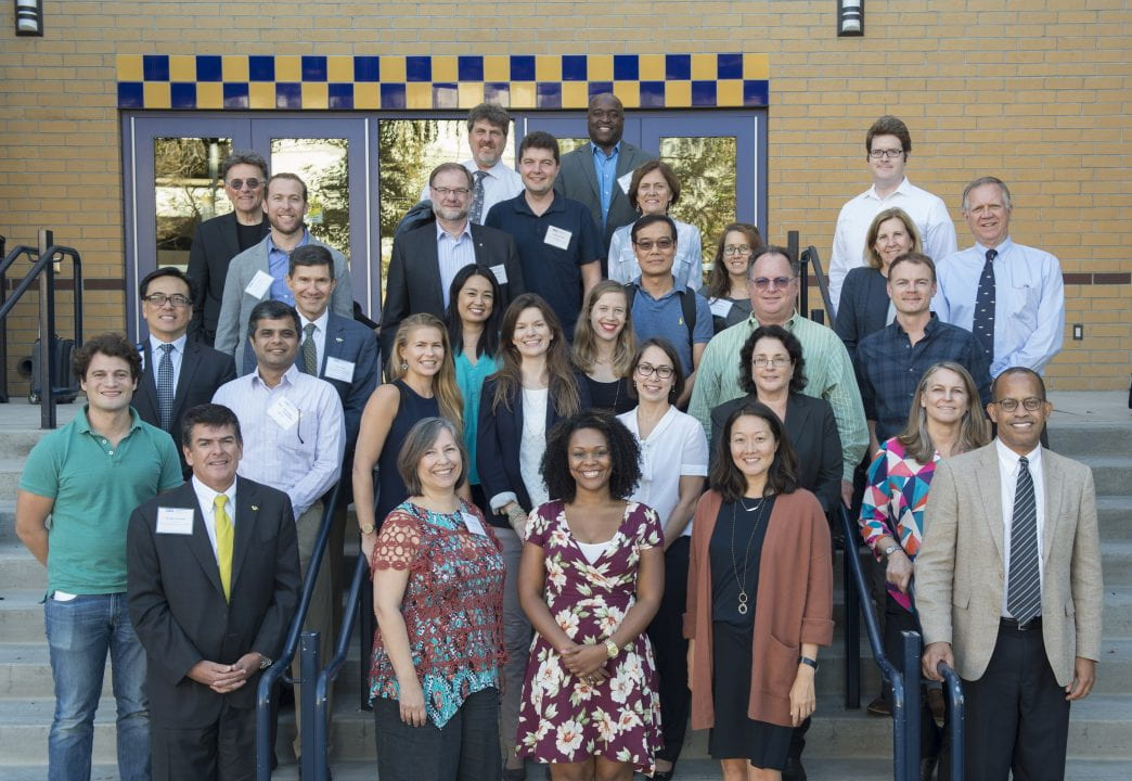 UCI faculty on the steps of the UCI Student Center