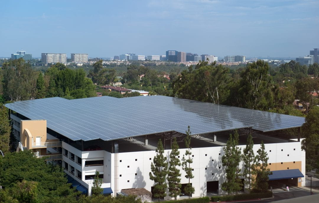 Solar panels cover the roof of UCI's Student Center Parking Structure.