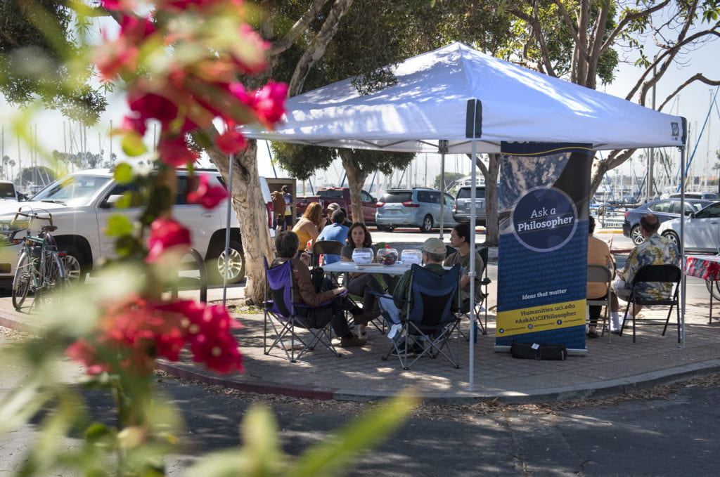 Rena Goldstein, stationed here at a Long Beach farmers market, is part of a movement to bring philosophy to prisons, elementary schools and other nontraditional venues.