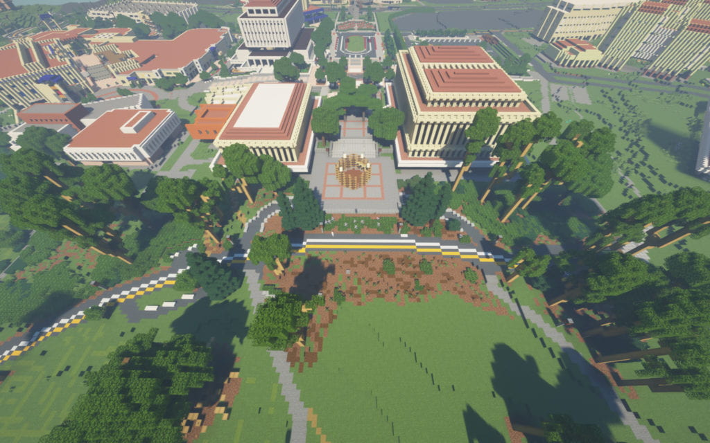 Minecraft UCI's live map shows an aerial view of Aldrich Park facing Gateway Plaza, between Langson Library and Gateway Study Center – complete with the New Swan theater-in-the-round.