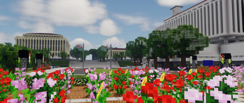 The full-size digital replica of UCI includes the rose garden and flagpoles outside Aldrich Hall in @minecraft.uci on Instagram