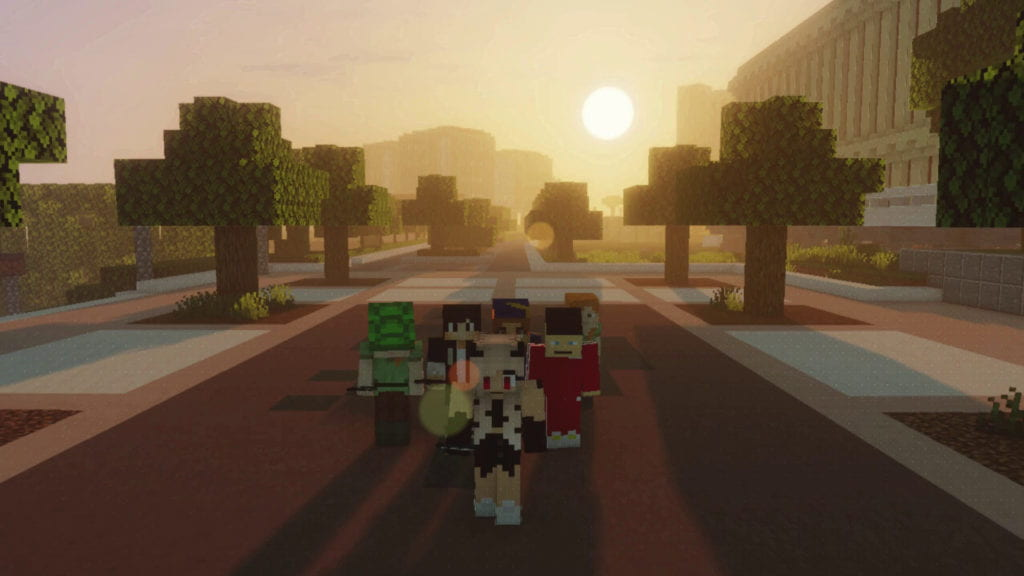 Minecraft UCI characters stroll along Ring Road exploring the virtual campus.