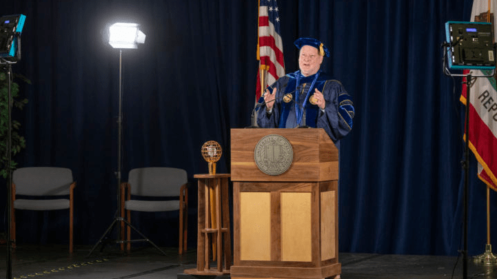 Chancellor Howard Gillman tapes his address for UCI's virtual commencement on June 13. More than 11,000 students will graduate this year, with over 7,400 participating in remote ceremonies.