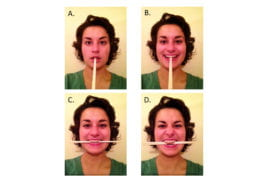 Smiling sincerely or grimacing can significantly reduce the pain of needle injection