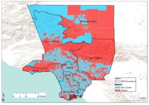 This map identifies pharmacy deserts in Los Angeles County.