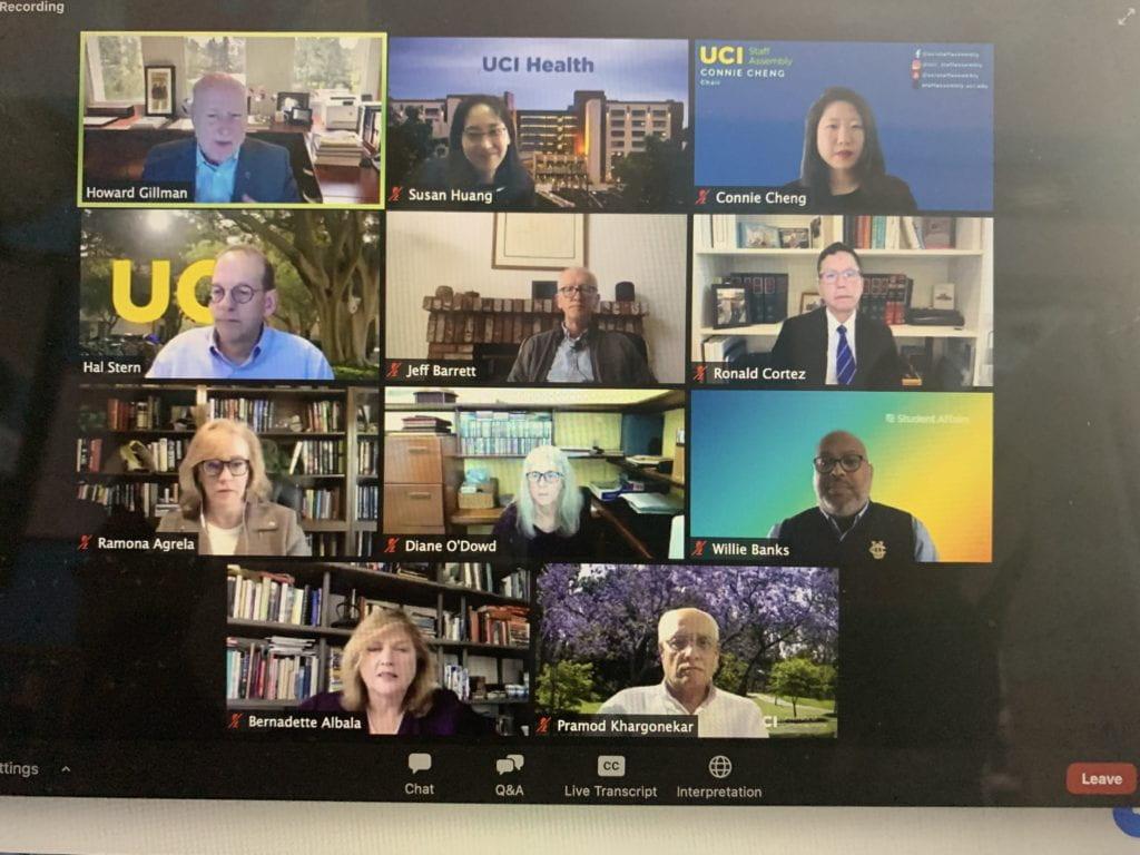 Zoom screenshot of 11 UCI campus leaders