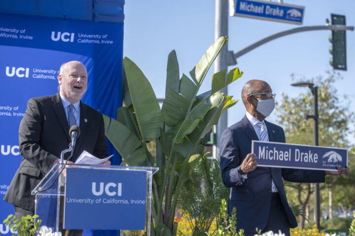UCI christens Michael Drake Drive to honor former chancellor