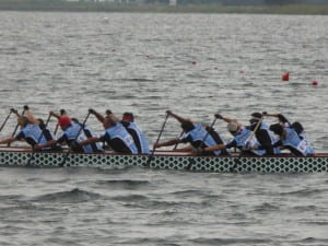 Earl Pagal and his Long Beach Masters dragon boat team paddle to the finish line at the Club Crew World Championships in Ravenna, Italy. Photo courtesy of Earl Pagal