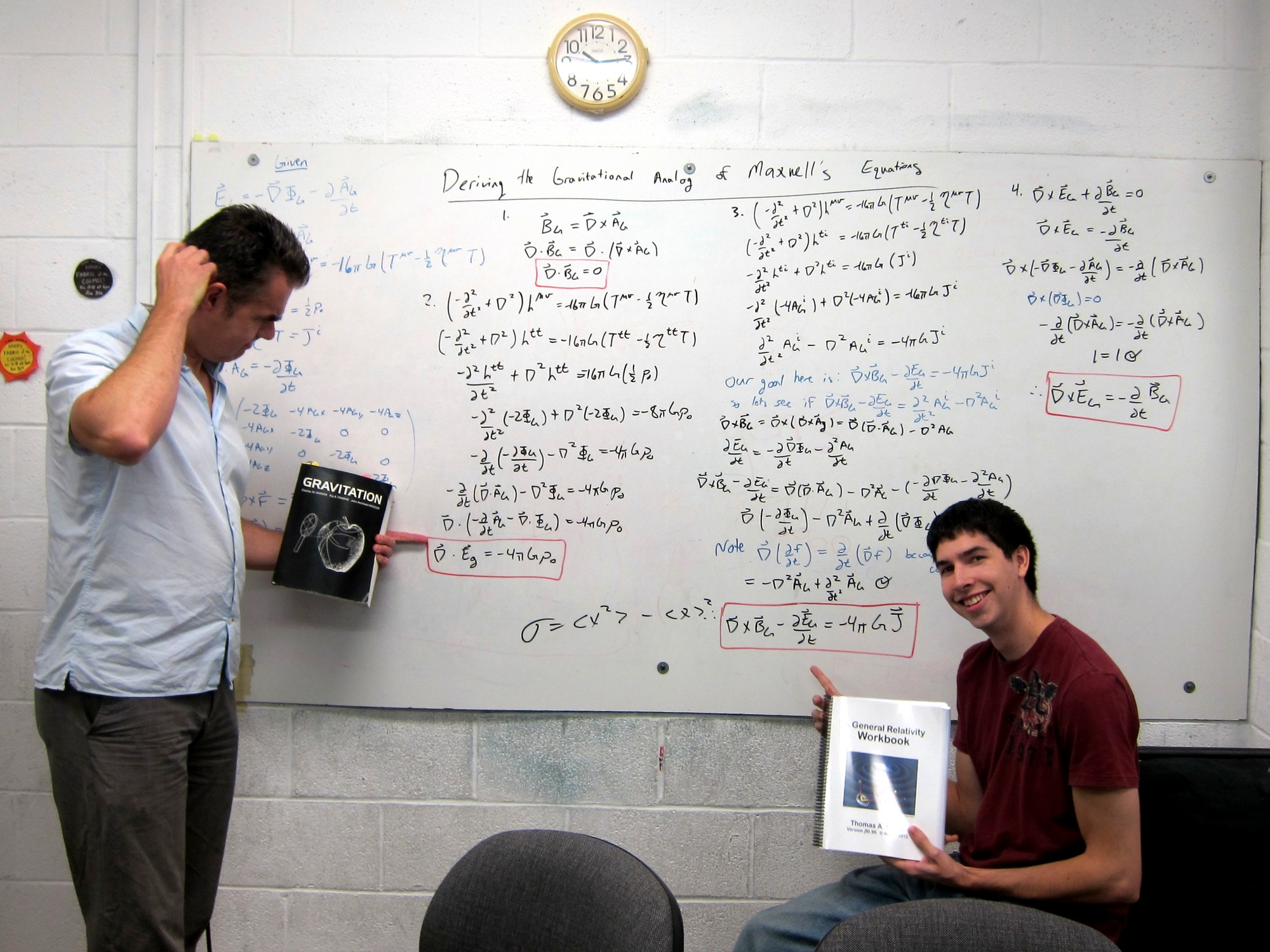 Filling the whiteboard in the SPS lounge with a derivation of the gravitoelectromagnetic Maxwell equations (2012)
