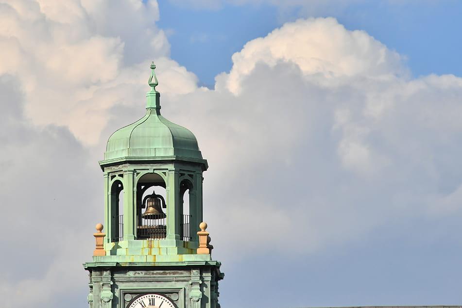 bird's eye view of Stephens Hall clock tower