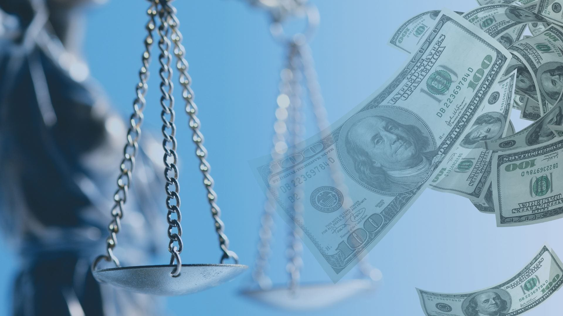 the scales of justice and money