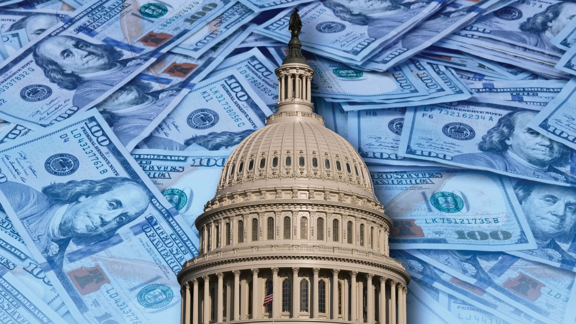 The US Capitol dome set again 100 dollar bills