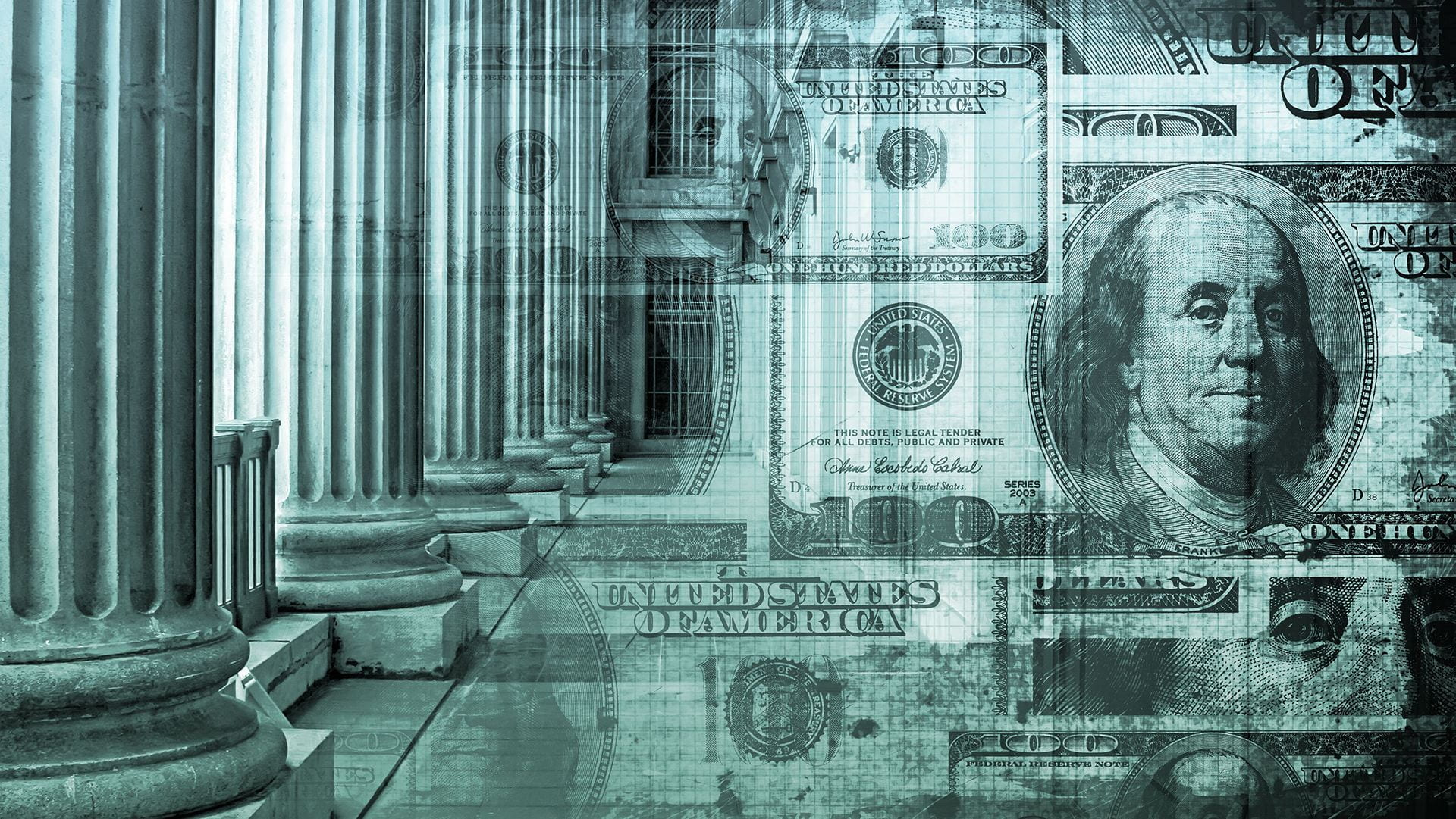 abstract image of 100 dollar bills imposed over columns