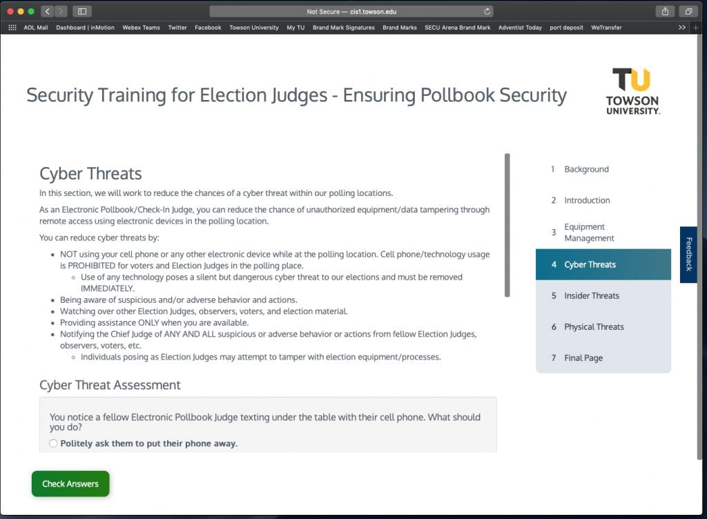 screenshot of the training module on pollbook security
