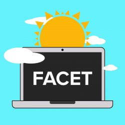 picture of the sun with a desktop computer with the name FACET