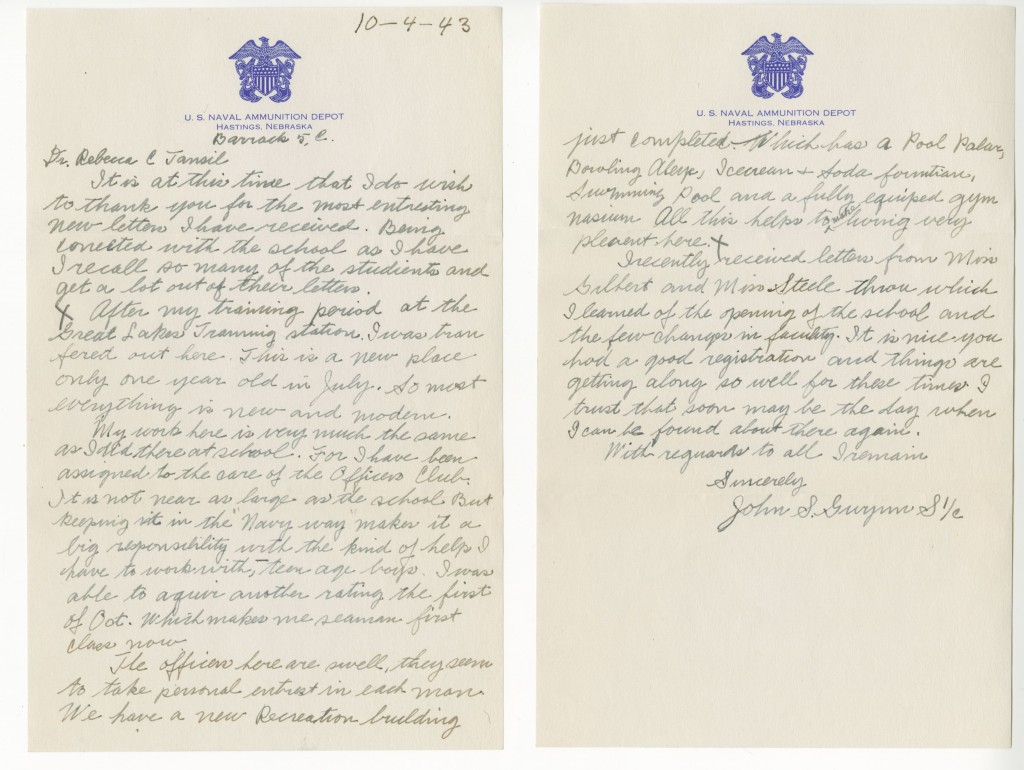 Letter to Rebecca Tansil from John Gwynn.
