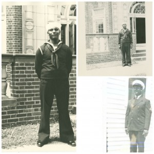 John Gwynn in his Navy uniform photographed on campus.