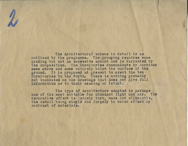 A typewritten note from the then-anonymous architect included with his drawings.