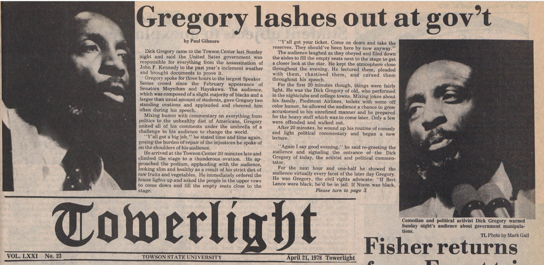 Article showing pictures of Dick Gregory and parts of his speech.