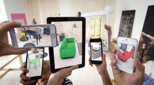 Picture of furniture being displayed through augmented reality as if it were in the room