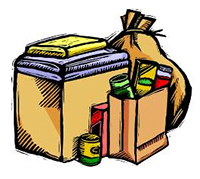 clipart image of a bag of groceries and a box of blankets