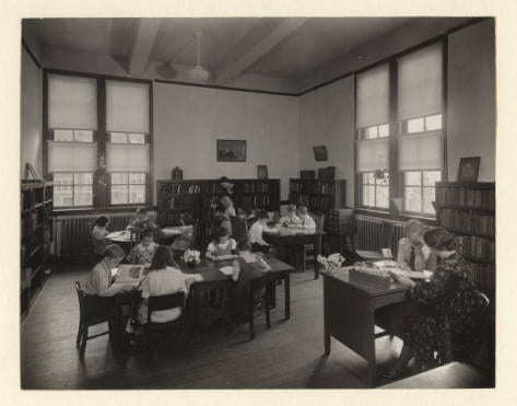 Photograph of the campus elementary school library in 1933