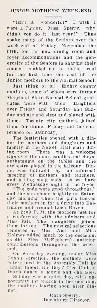 A report from the 1926 Towerlight