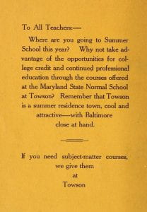1926 Course catalog advertising Summer Session