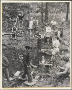 Students of the Lida Lee Tall School catching bugs and exploring the Glen in 1942.
