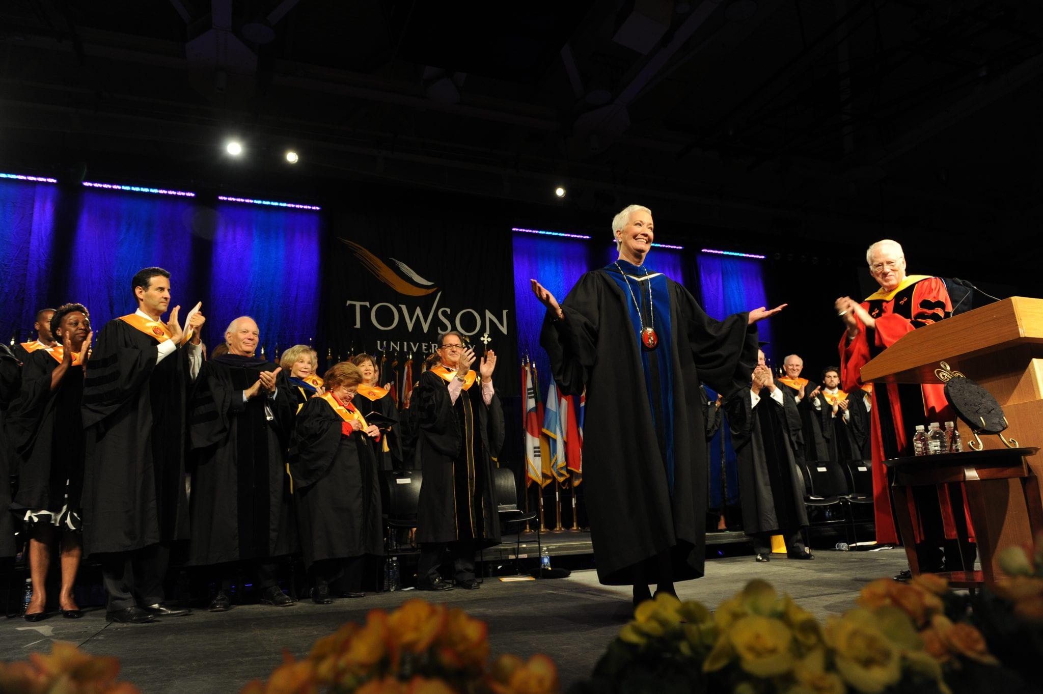 Loeschke, after receiving the Towson University medallion at her inauguration.
