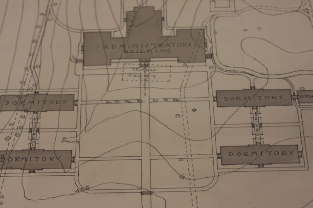 Also just outside the Administration Building door? Apparently, tennis courts! That would have been exciting.