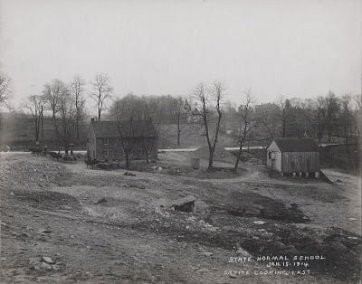 Photograph of construction around Six Mile House. We surmise it stood about where 7800 York Road is today.