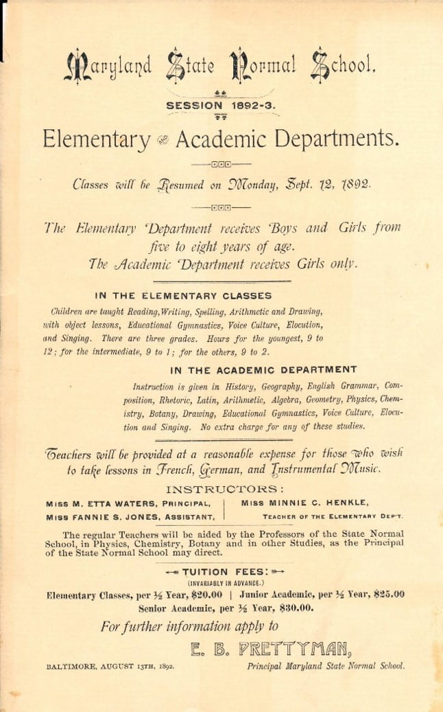 Curriculum from the 1892 catalog.